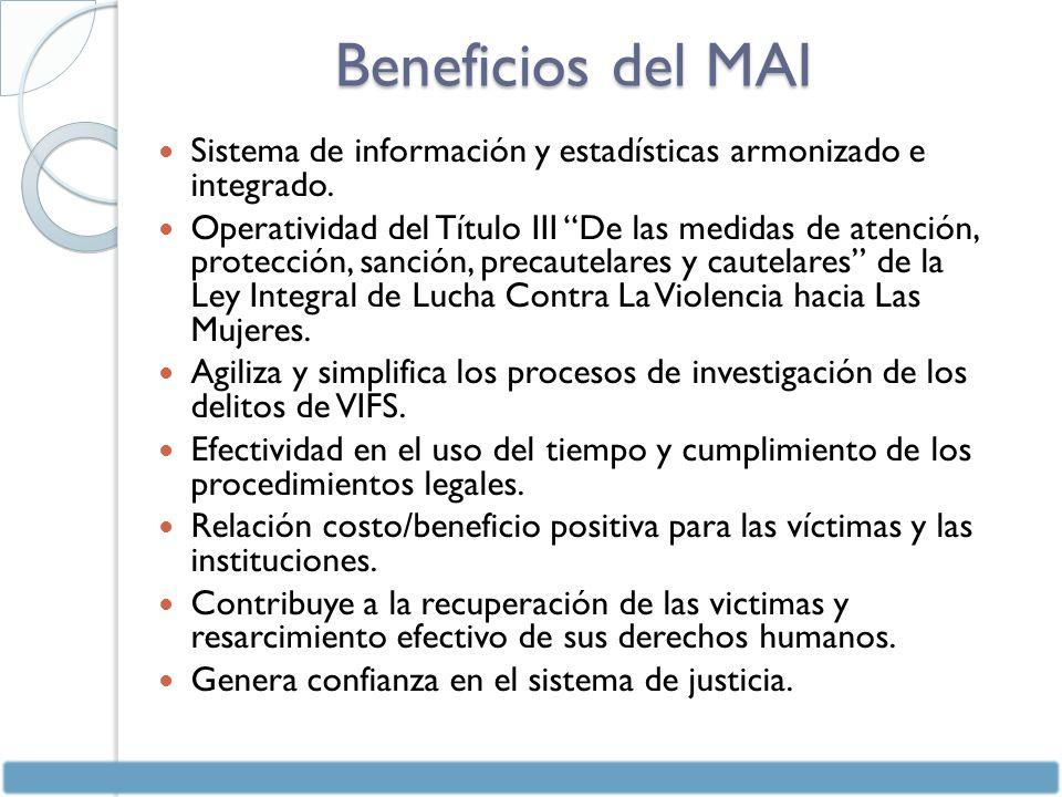 Beneficios del MAI Sistema de información y estadísticas armonizado e integrado.