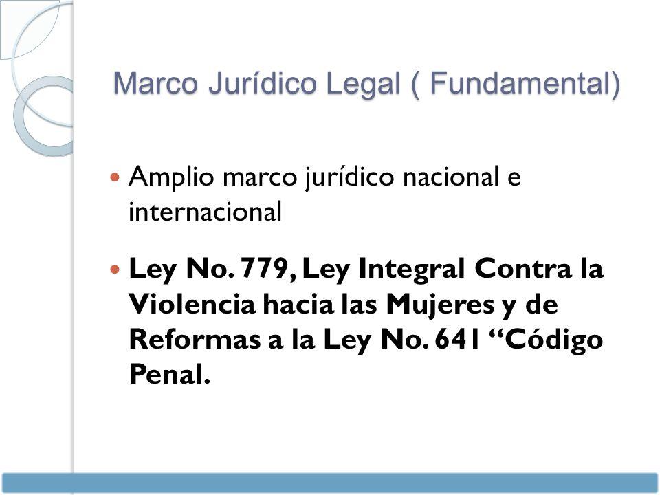 Amplio marco jurídico nacional e internacional Ley No.
