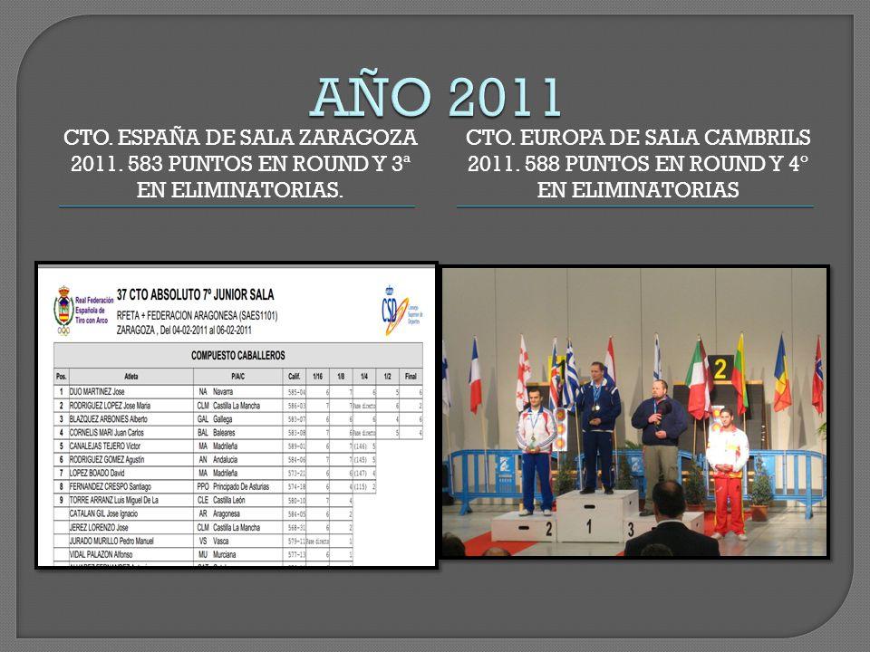 CTO. ESPAÑA DE SALA ZARAGOZA 2011. 583 PUNTOS EN ROUND Y 3ª EN ELIMINATORIAS.