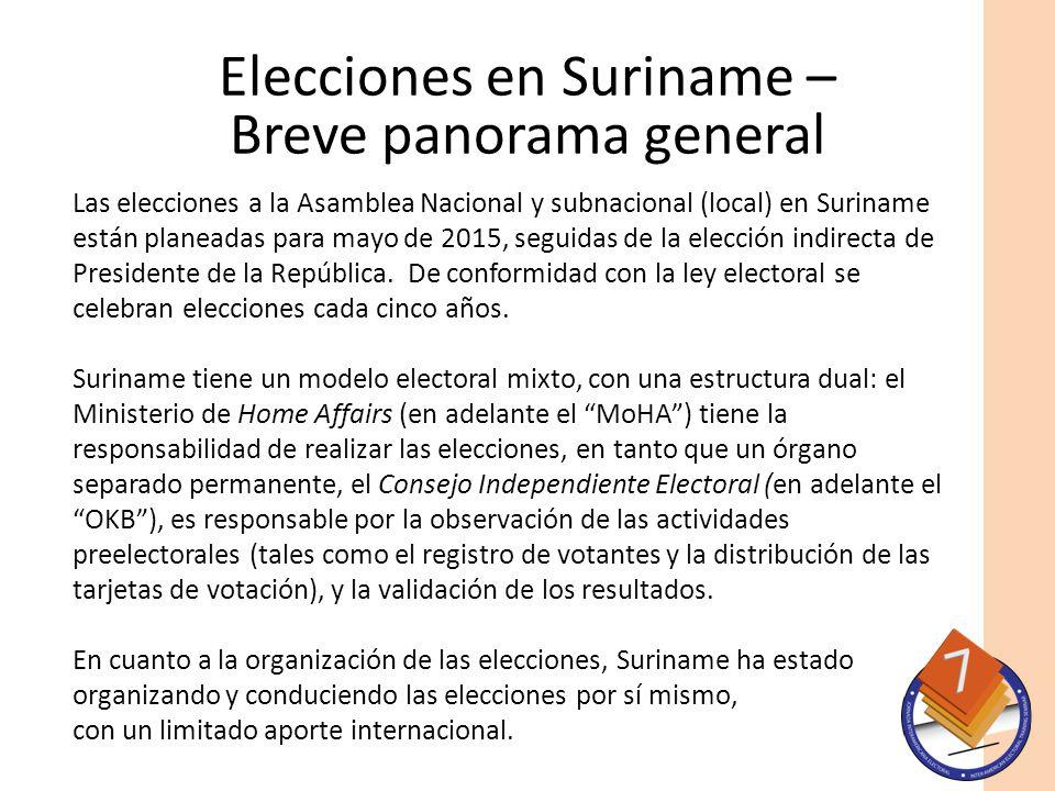 Elecciones en Suriname – Breve panorama general Las elecciones a la Asamblea Nacional y subnacional (local) en Suriname están planeadas para mayo de 2015, seguidas de la elección indirecta de Presidente de la República.