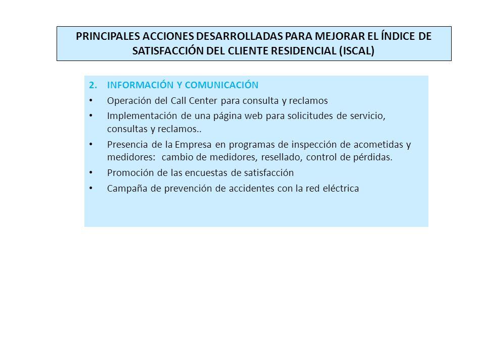 2.INFORMACIÓN Y COMUNICACIÓN Operación del Call Center para consulta y reclamos Implementación de una página web para solicitudes de servicio, consultas y reclamos..