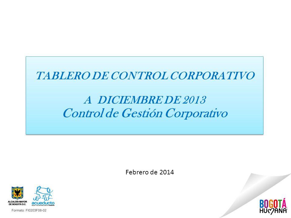 1 Febrero de 2014 TABLERO DE CONTROL CORPORATIVO A DICIEMBRE DE 2013 Control de Gestión Corporativo TABLERO DE CONTROL CORPORATIVO A DICIEMBRE DE 2013 Control de Gestión Corporativo