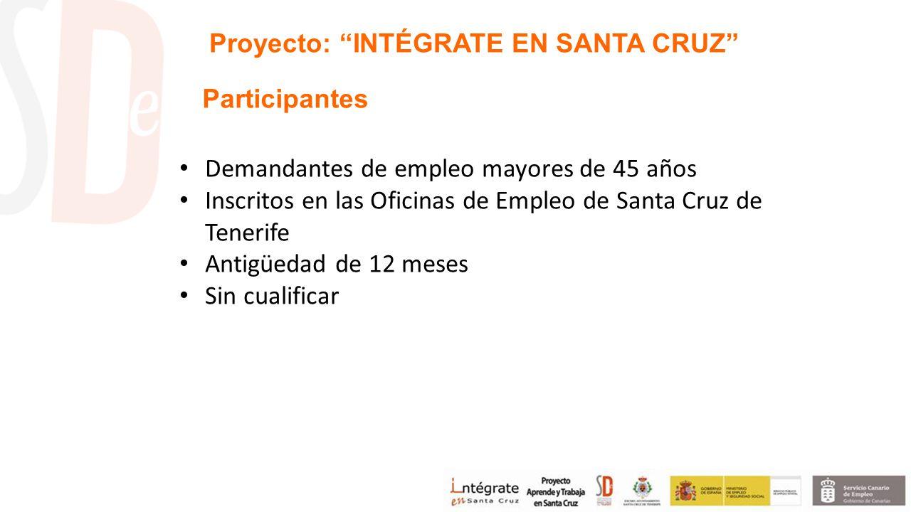 Demandantes de empleo mayores de 45 años Inscritos en las Oficinas de Empleo de Santa Cruz de Tenerife Antigüedad de 12 meses Sin cualificar Proyecto: INTÉGRATE EN SANTA CRUZ Participantes