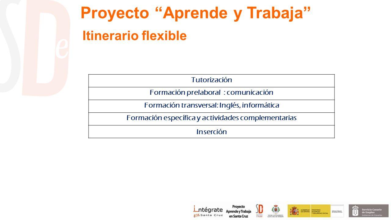 Tutorización Formación prelaboral : comunicación Formación transversal: Inglés, informática Formación específica y actividades complementarias Inserción Itinerario flexible Proyecto Aprende y Trabaja