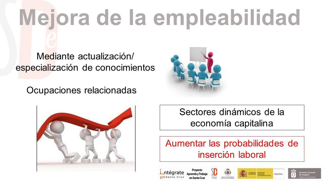Mejora de la empleabilidad Mediante actualización/ especialización de conocimientos Ocupaciones relacionadas Sectores dinámicos de la economía capitalina Aumentar las probabilidades de inserción laboral