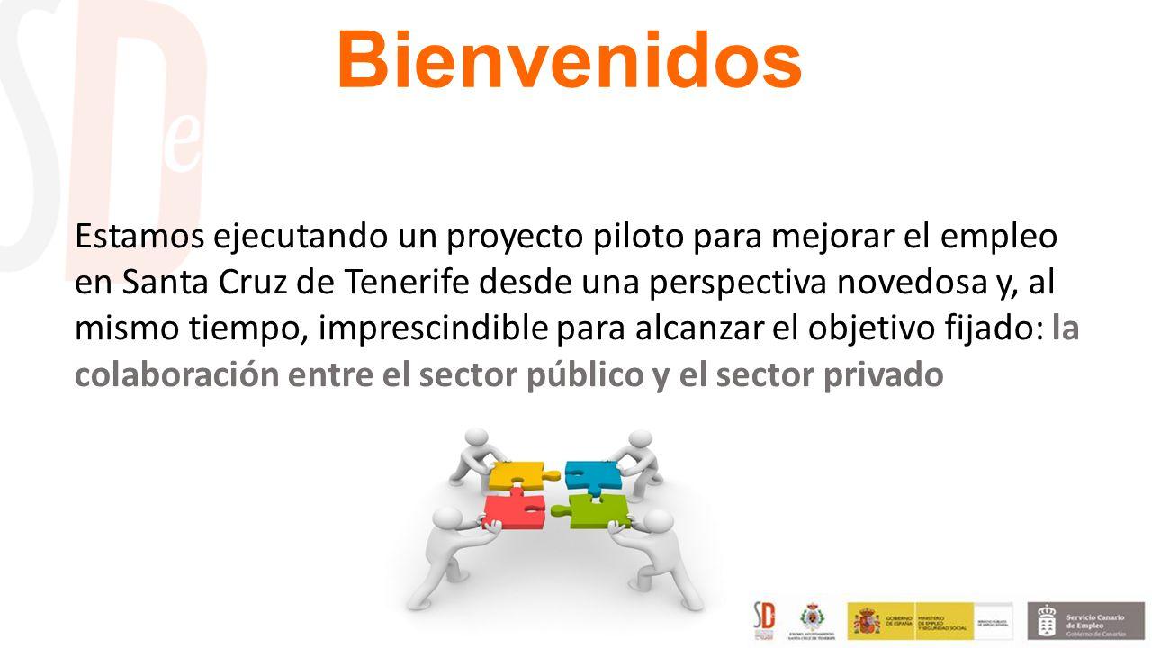 Bienvenidos Estamos ejecutando un proyecto piloto para mejorar el empleo en Santa Cruz de Tenerife desde una perspectiva novedosa y, al mismo tiempo, imprescindible para alcanzar el objetivo fijado: la colaboración entre el sector público y el sector privado
