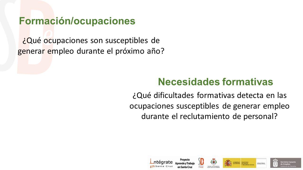 Formación/ocupaciones ¿Qué ocupaciones son susceptibles de generar empleo durante el próximo año.