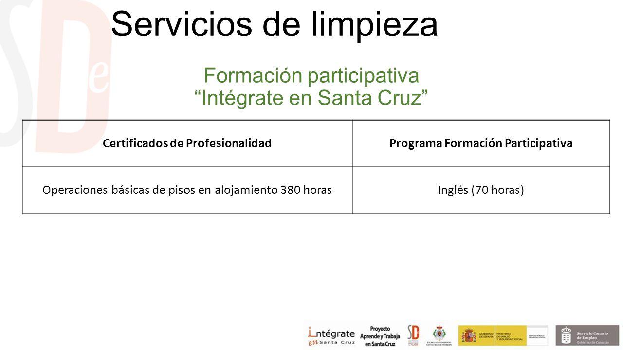 Formación participativa Intégrate en Santa Cruz Certificados de ProfesionalidadPrograma Formación Participativa Operaciones básicas de pisos en alojamiento 380 horasInglés (70 horas) Servicios de limpieza
