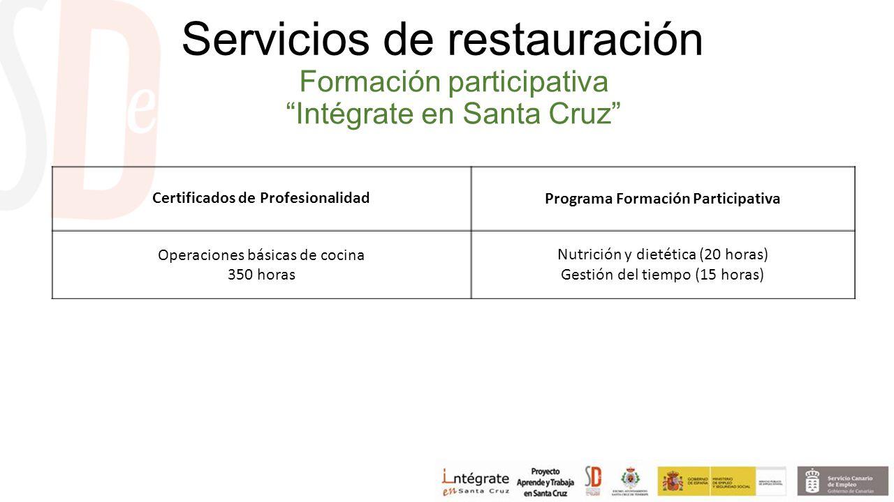 Formación participativa Intégrate en Santa Cruz Certificados de ProfesionalidadPrograma Formación Participativa Operaciones básicas de cocina 350 horas Nutrición y dietética (20 horas) Gestión del tiempo (15 horas) Servicios de restauración