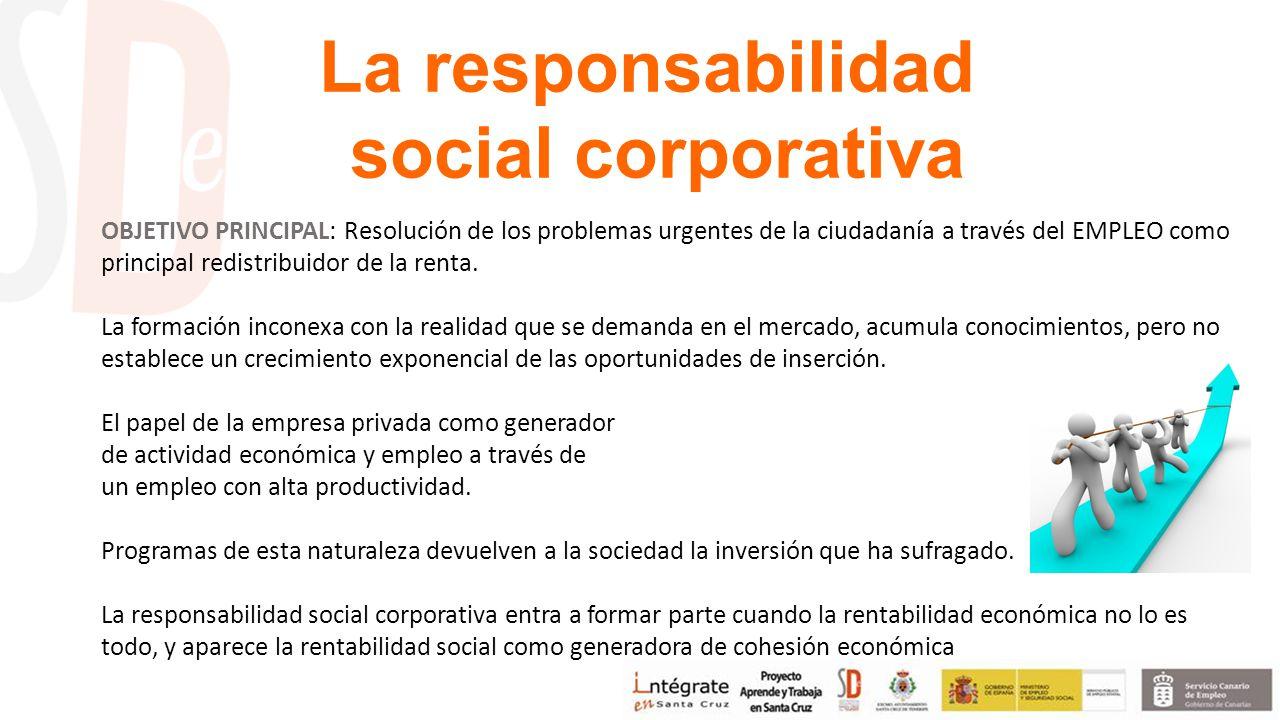 La responsabilidad social corporativa OBJETIVO PRINCIPAL: Resolución de los problemas urgentes de la ciudadanía a través del EMPLEO como principal redistribuidor de la renta.