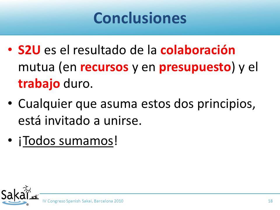 Conclusiones S2U es el resultado de la colaboración mutua (en recursos y en presupuesto) y el trabajo duro.