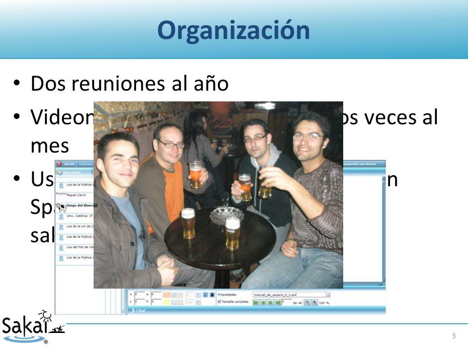 Organización Dos reuniones al año Videonconferencias, al menos, dos veces al mes Uso intensivo de la lista de distribución Spanish Sakai: spanish- sakai@collab.sakaiproject.org 3