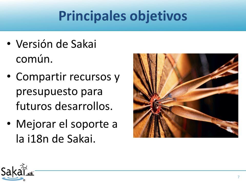 Principales objetivos Versión de Sakai común.