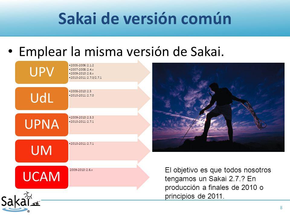 Sakai de versión común Emplear la misma versión de Sakai.