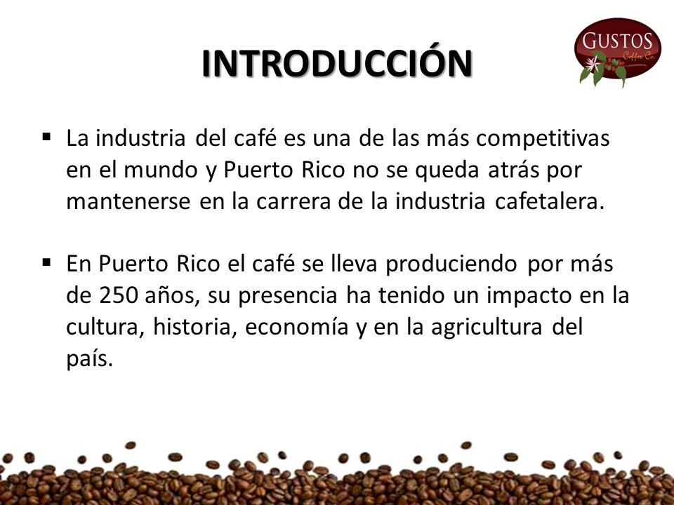 INTRODUCCIÓN  La industria del café es una de las más competitivas en el mundo y Puerto Rico no se queda atrás por mantenerse en la carrera de la industria cafetalera.