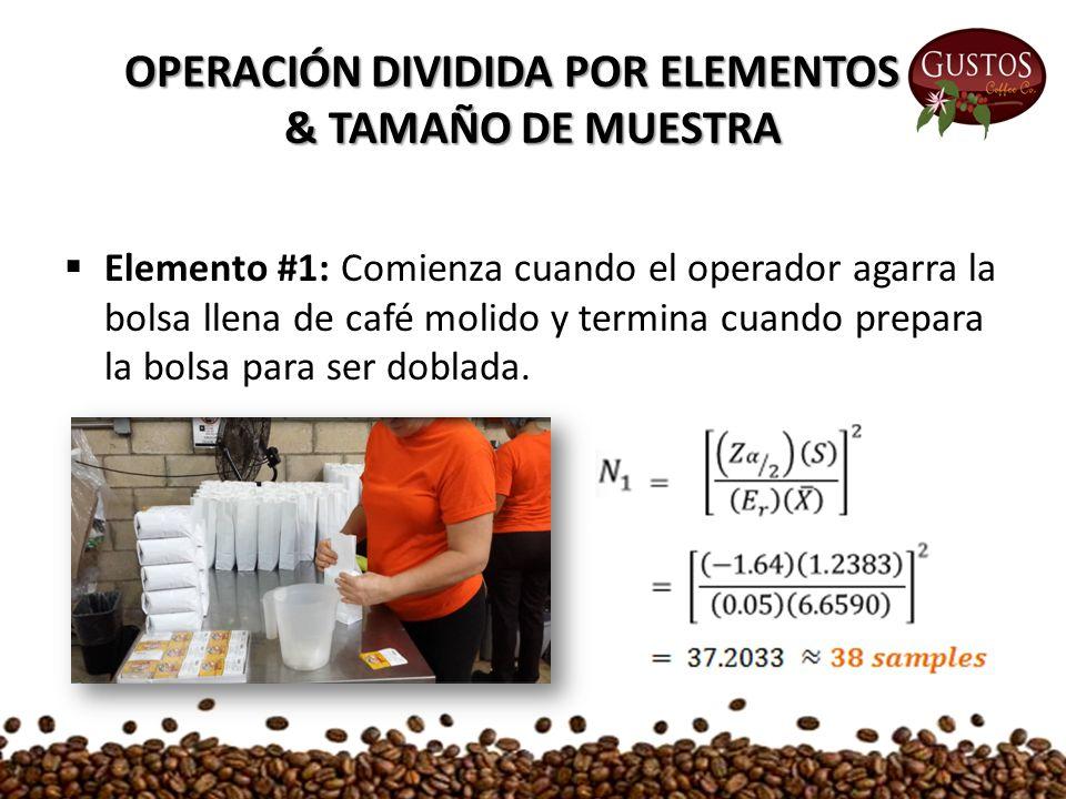  Elemento #1: Comienza cuando el operador agarra la bolsa llena de café molido y termina cuando prepara la bolsa para ser doblada.