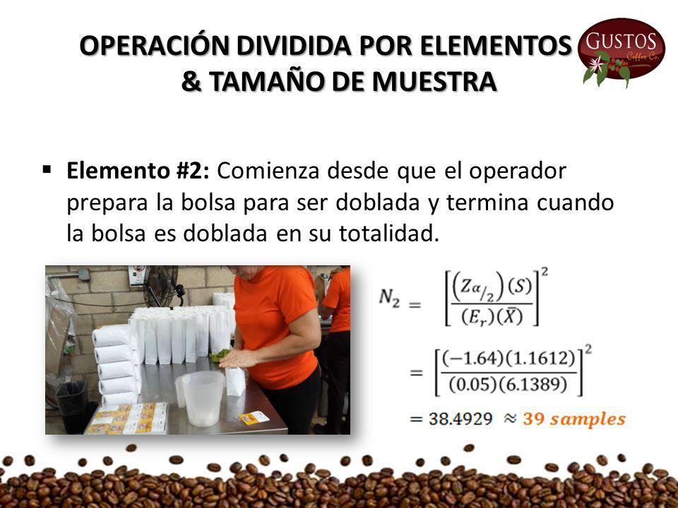  Elemento #2: Comienza desde que el operador prepara la bolsa para ser doblada y termina cuando la bolsa es doblada en su totalidad.