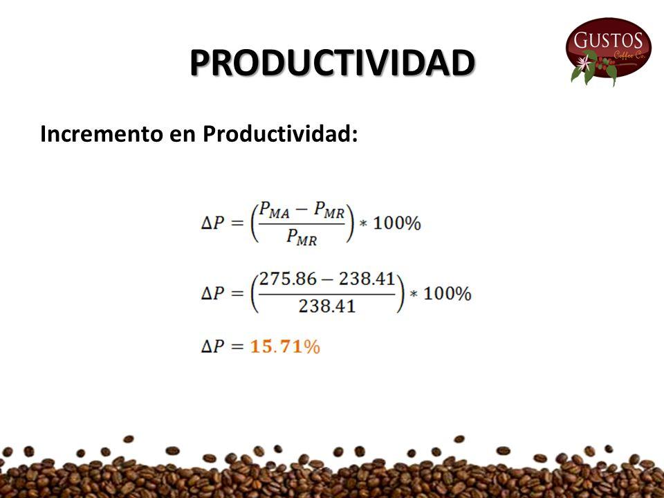 PRODUCTIVIDAD Incremento en Productividad: