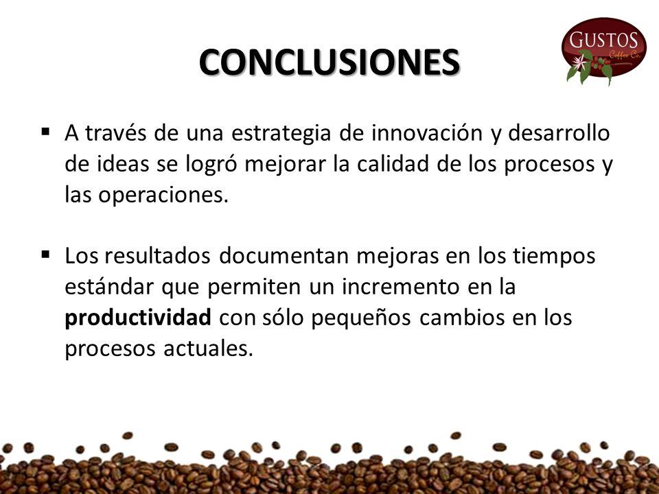 CONCLUSIONES  A través de una estrategia de innovación y desarrollo de ideas se logró mejorar la calidad de los procesos y las operaciones.