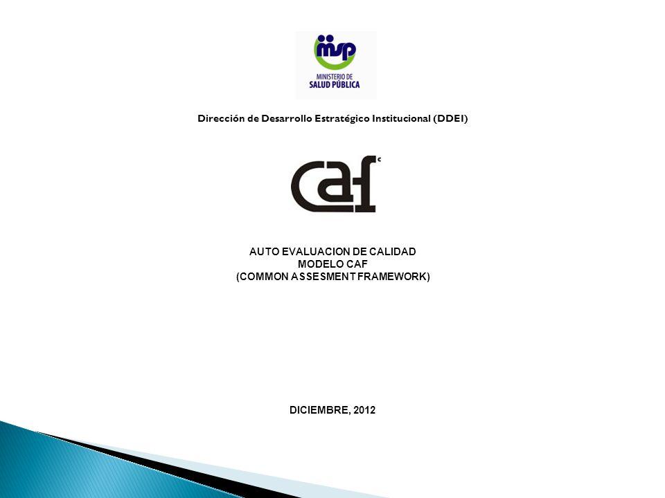 Dirección de Desarrollo Estratégico Institucional (DDEI) AUTO EVALUACION DE CALIDAD MODELO CAF (COMMON ASSESMENT FRAMEWORK) DICIEMBRE, 2012