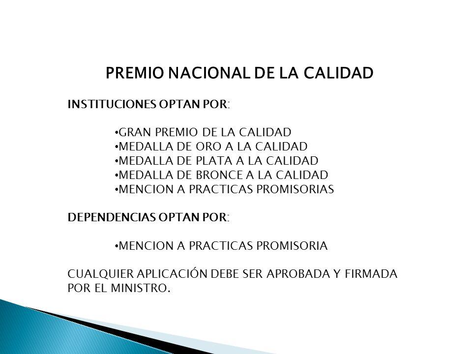 PREMIO NACIONAL DE LA CALIDAD INSTITUCIONES OPTAN POR: GRAN PREMIO DE LA CALIDAD MEDALLA DE ORO A LA CALIDAD MEDALLA DE PLATA A LA CALIDAD MEDALLA DE BRONCE A LA CALIDAD MENCION A PRACTICAS PROMISORIAS DEPENDENCIAS OPTAN POR: MENCION A PRACTICAS PROMISORIA CUALQUIER APLICACIÓN DEBE SER APROBADA Y FIRMADA POR EL MINISTRO.