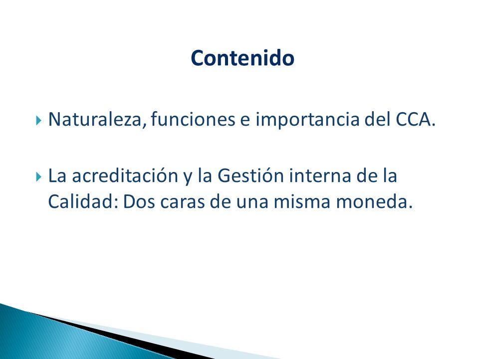 Contenido  Naturaleza, funciones e importancia del CCA.