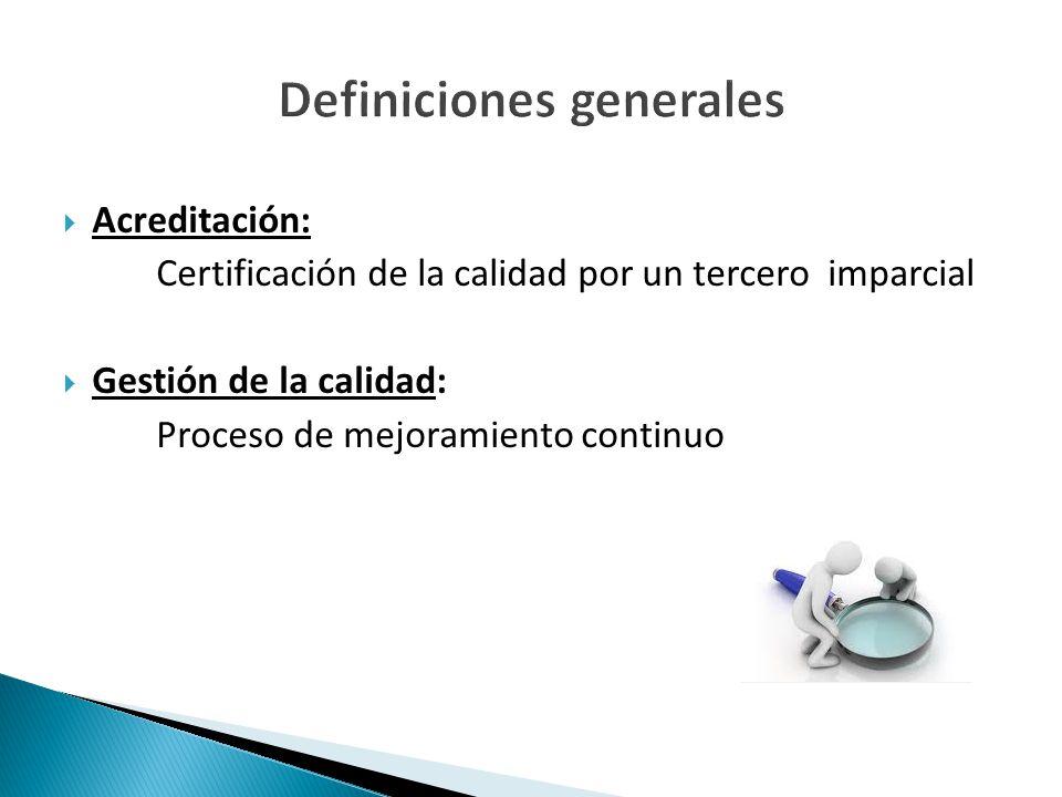  Acreditación: Certificación de la calidad por un tercero imparcial  Gestión de la calidad: Proceso de mejoramiento continuo