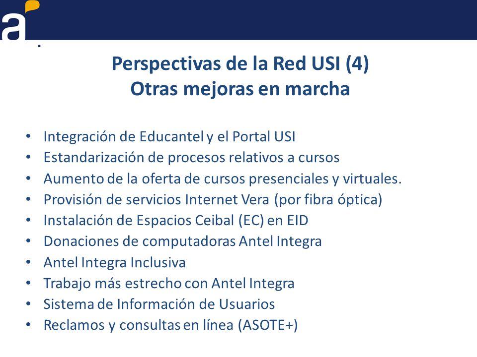 Perspectivas de la Red USI (4) Otras mejoras en marcha Integración de Educantel y el Portal USI Estandarización de procesos relativos a cursos Aumento de la oferta de cursos presenciales y virtuales.