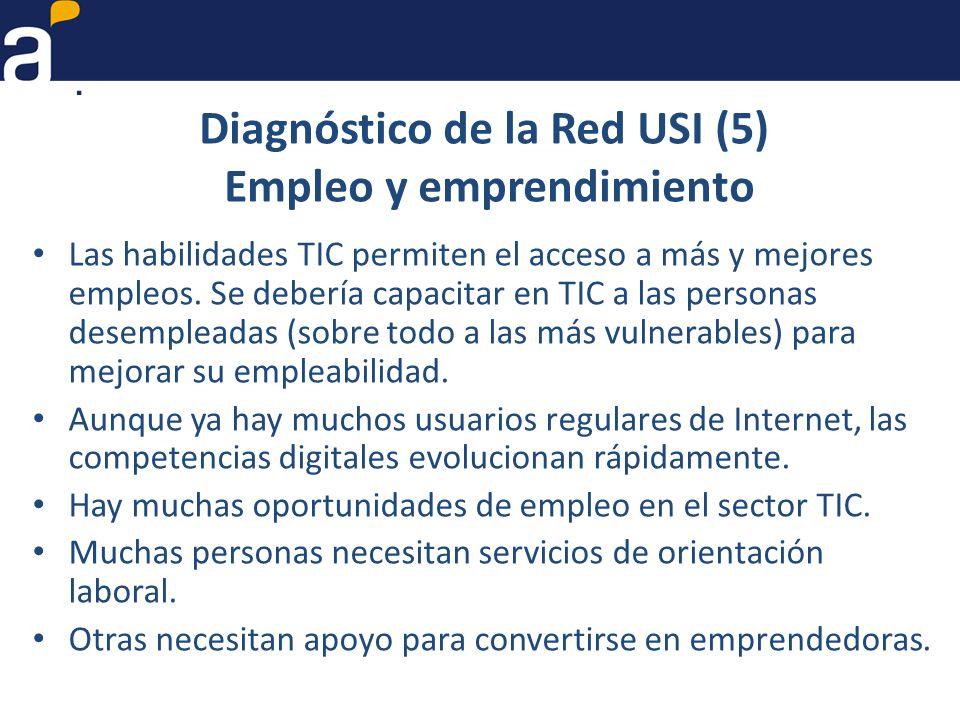 Diagnóstico de la Red USI (5) Empleo y emprendimiento Las habilidades TIC permiten el acceso a más y mejores empleos.