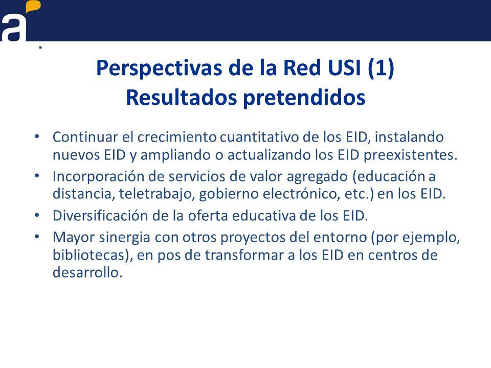 Perspectivas de la Red USI (1) Resultados pretendidos Continuar el crecimiento cuantitativo de los EID, instalando nuevos EID y ampliando o actualizando los EID preexistentes.
