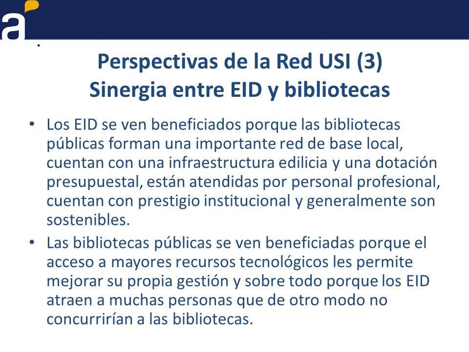 Perspectivas de la Red USI (3) Sinergia entre EID y bibliotecas Los EID se ven beneficiados porque las bibliotecas públicas forman una importante red de base local, cuentan con una infraestructura edilicia y una dotación presupuestal, están atendidas por personal profesional, cuentan con prestigio institucional y generalmente son sostenibles.