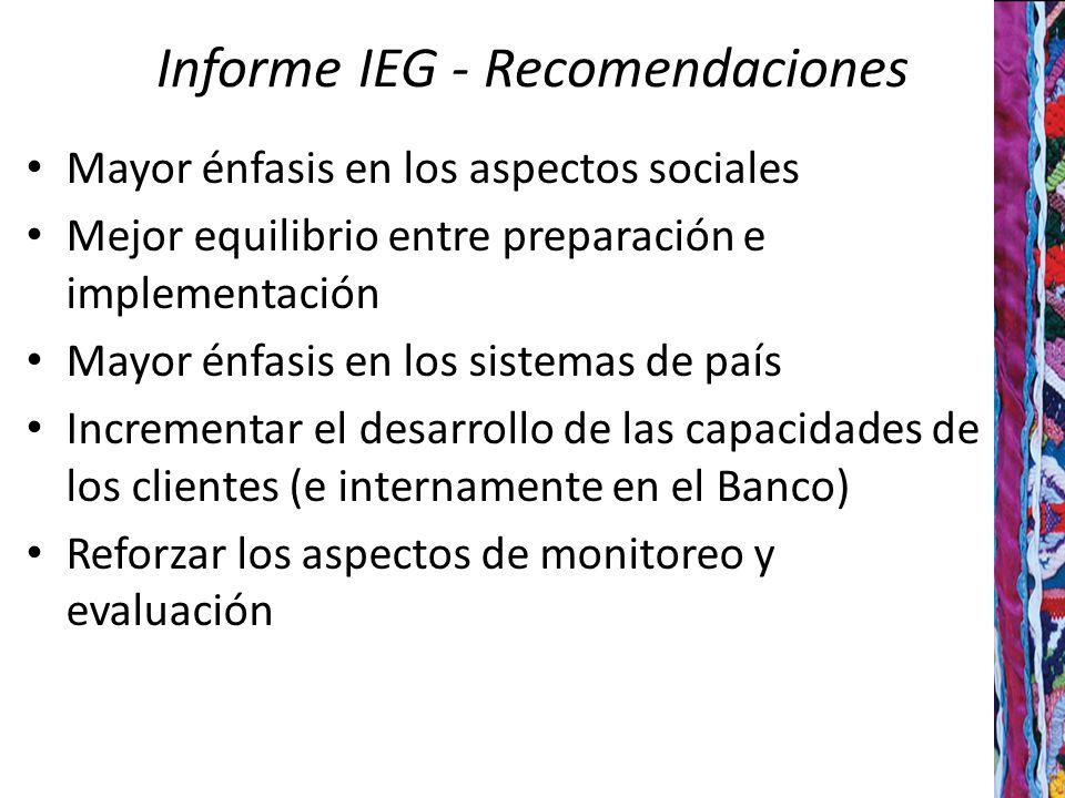 Informe IEG - Recomendaciones Mayor énfasis en los aspectos sociales Mejor equilibrio entre preparación e implementación Mayor énfasis en los sistemas de país Incrementar el desarrollo de las capacidades de los clientes (e internamente en el Banco) Reforzar los aspectos de monitoreo y evaluación