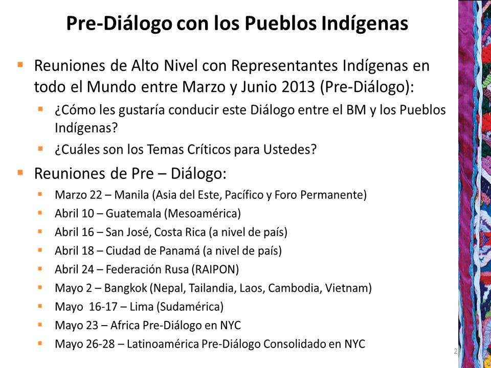 22 Pre-Diálogo con los Pueblos Indígenas