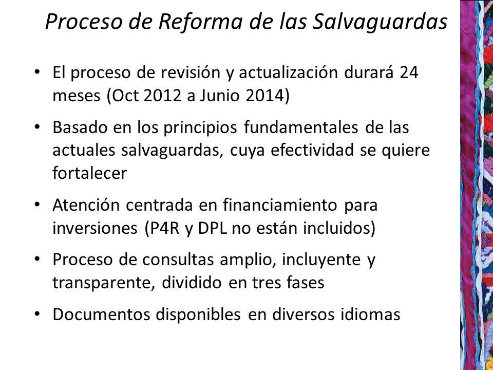 Proceso de Reforma de las Salvaguardas El proceso de revisión y actualización durará 24 meses (Oct 2012 a Junio 2014) Basado en los principios fundamentales de las actuales salvaguardas, cuya efectividad se quiere fortalecer Atención centrada en financiamiento para inversiones (P4R y DPL no están incluidos) Proceso de consultas amplio, incluyente y transparente, dividido en tres fases Documentos disponibles en diversos idiomas