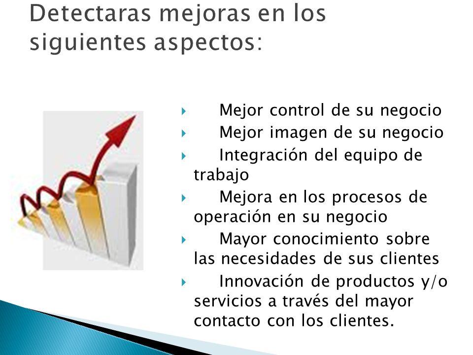  Mejor control de su negocio  Mejor imagen de su negocio  Integración del equipo de trabajo  Mejora en los procesos de operación en su negocio  Mayor conocimiento sobre las necesidades de sus clientes  Innovación de productos y/o servicios a través del mayor contacto con los clientes.