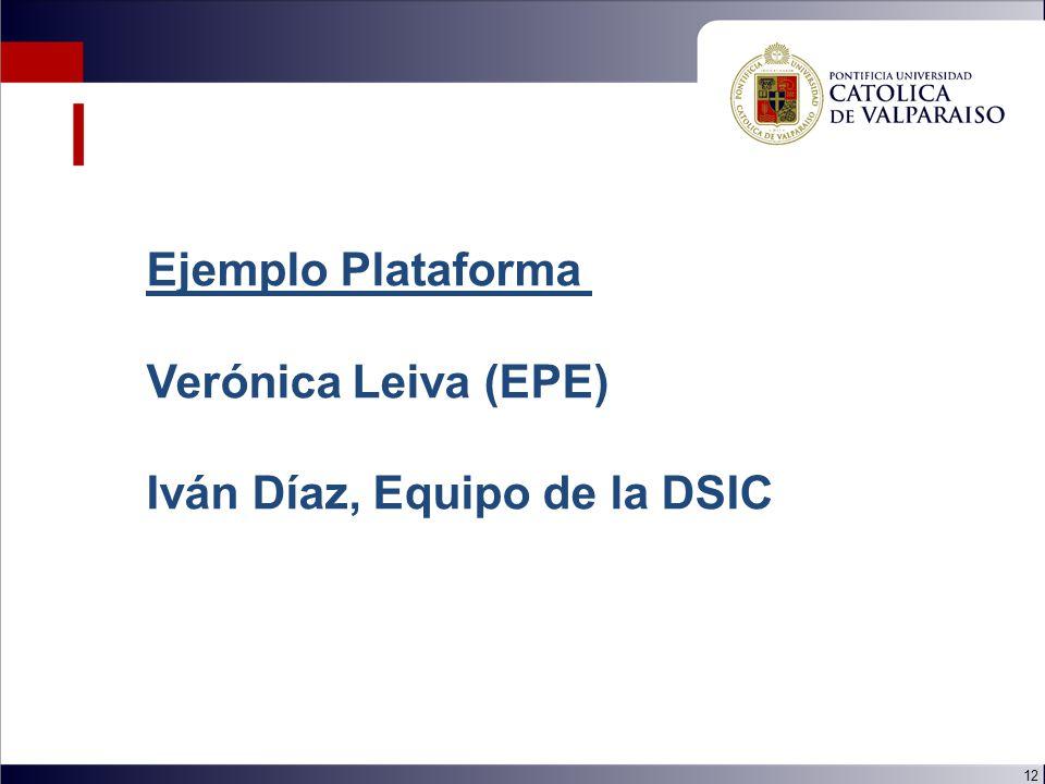 12 Ejemplo Plataforma Verónica Leiva (EPE) Iván Díaz, Equipo de la DSIC