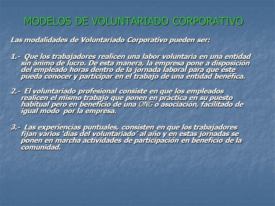 MODELOS DE VOLUNTARIADO CORPORATIVO Las modalidades de Voluntariado Corporativo pueden ser: 1.- Que los trabajadores realicen una labor voluntaria en una entidad sin ánimo de lucro.