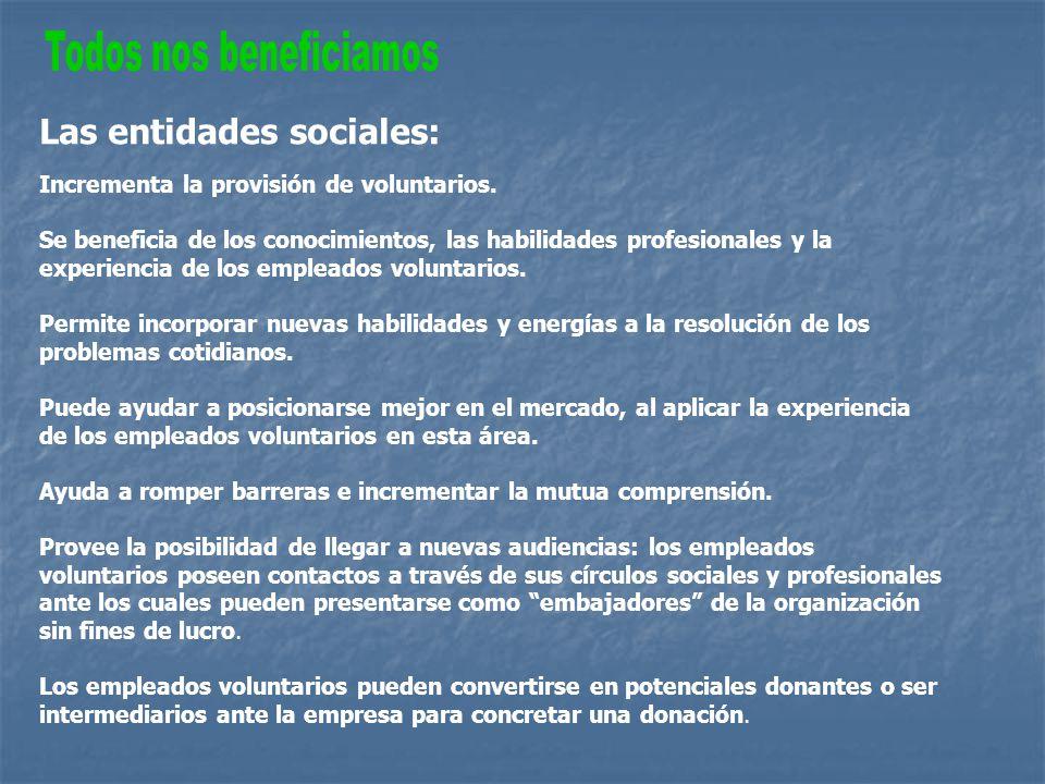Las entidades sociales: Incrementa la provisión de voluntarios.