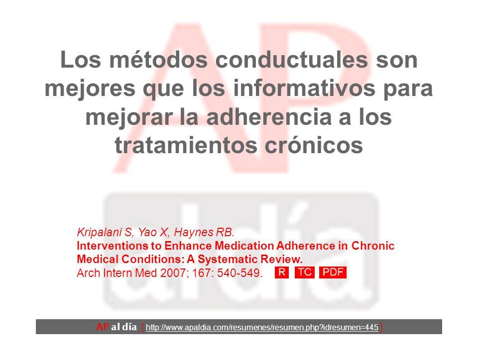 Los métodos conductuales son mejores que los informativos para mejorar la adherencia a los tratamientos crónicos AP al día [ http://www.apaldia.com/resumenes/resumen.php idresumen=445 ] Kripalani S, Yao X, Haynes RB.
