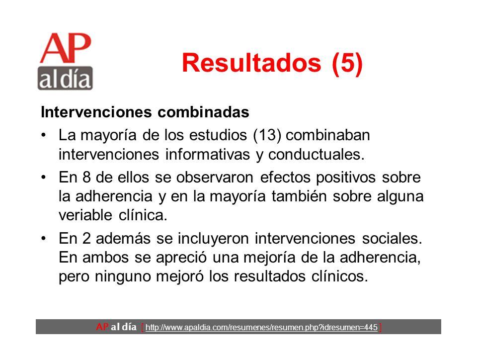 AP al día [ http://www.apaldia.com/resumenes/resumen.php idresumen=445 ] Resultados (5) Intervenciones combinadas La mayoría de los estudios (13) combinaban intervenciones informativas y conductuales.