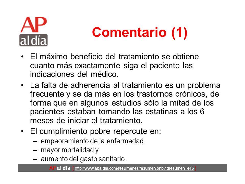 AP al día [ http://www.apaldia.com/resumenes/resumen.php idresumen=445 ] Comentario (1) El máximo beneficio del tratamiento se obtiene cuanto más exactamente siga el paciente las indicaciones del médico.
