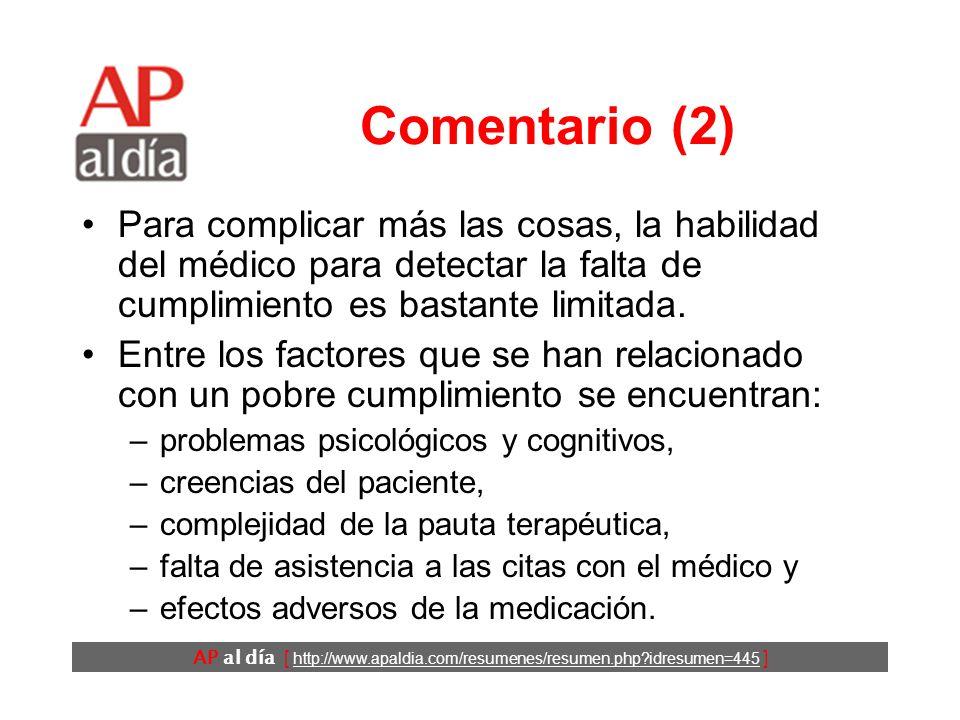AP al día [ http://www.apaldia.com/resumenes/resumen.php idresumen=445 ] Comentario (2) Para complicar más las cosas, la habilidad del médico para detectar la falta de cumplimiento es bastante limitada.