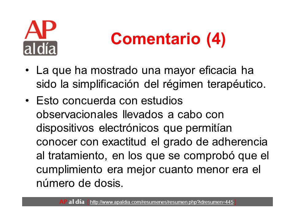AP al día [ http://www.apaldia.com/resumenes/resumen.php idresumen=445 ] Comentario (4) La que ha mostrado una mayor eficacia ha sido la simplificación del régimen terapéutico.