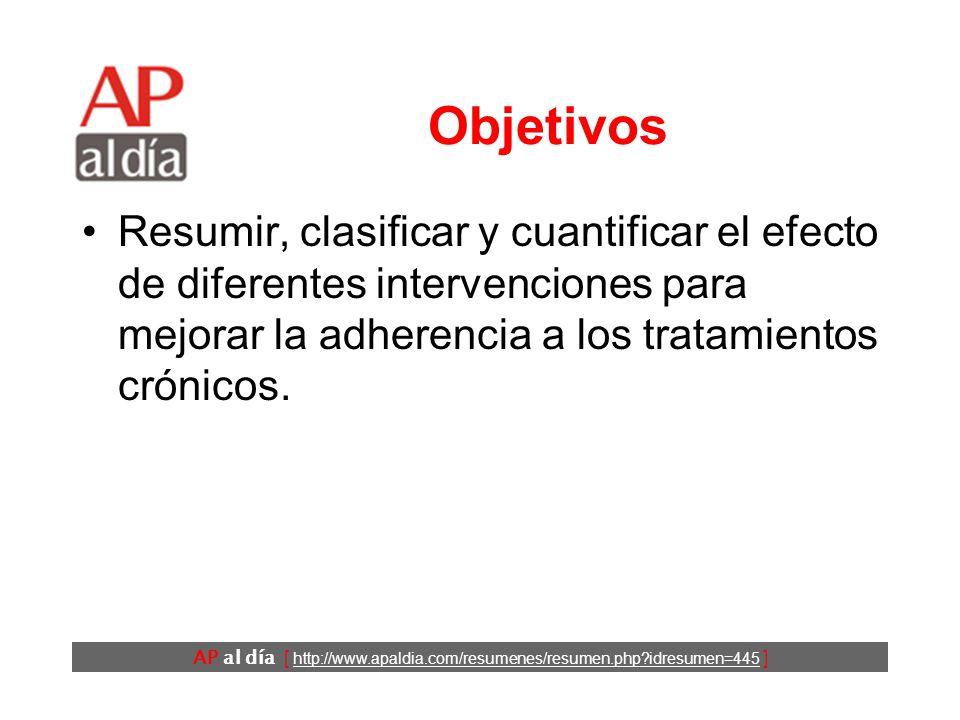 AP al día [ http://www.apaldia.com/resumenes/resumen.php idresumen=445 ] Objetivos Resumir, clasificar y cuantificar el efecto de diferentes intervenciones para mejorar la adherencia a los tratamientos crónicos.