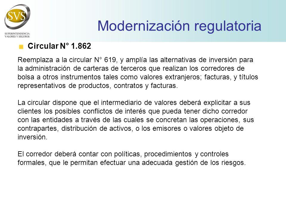 Modernización regulatoria Circular N° 1.862 Reemplaza a la circular N° 619, y amplía las alternativas de inversión para la administración de carteras de terceros que realizan los corredores de bolsa a otros instrumentos tales como valores extranjeros; facturas, y títulos representativos de productos, contratos y facturas.