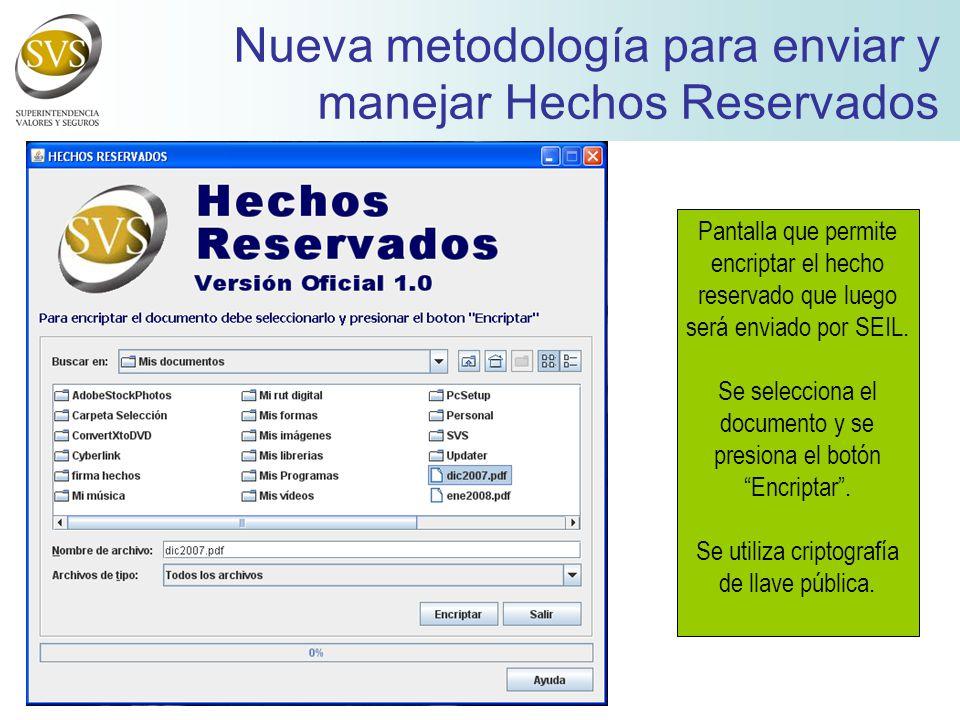 Pantalla que permite encriptar el hecho reservado que luego será enviado por SEIL.