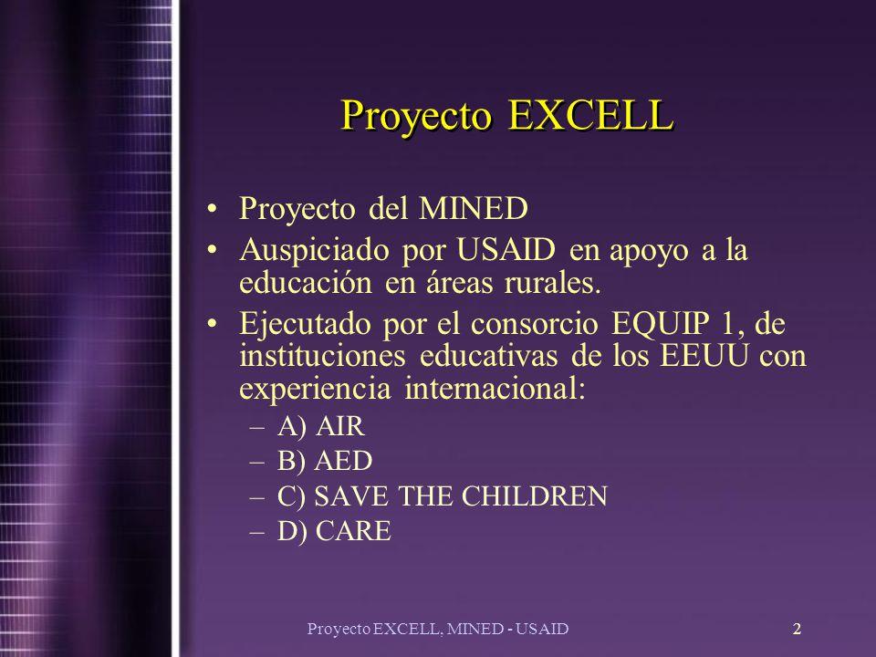 Proyecto EXCELL, MINED - USAID2 Proyecto EXCELL Proyecto del MINED Auspiciado por USAID en apoyo a la educación en áreas rurales.