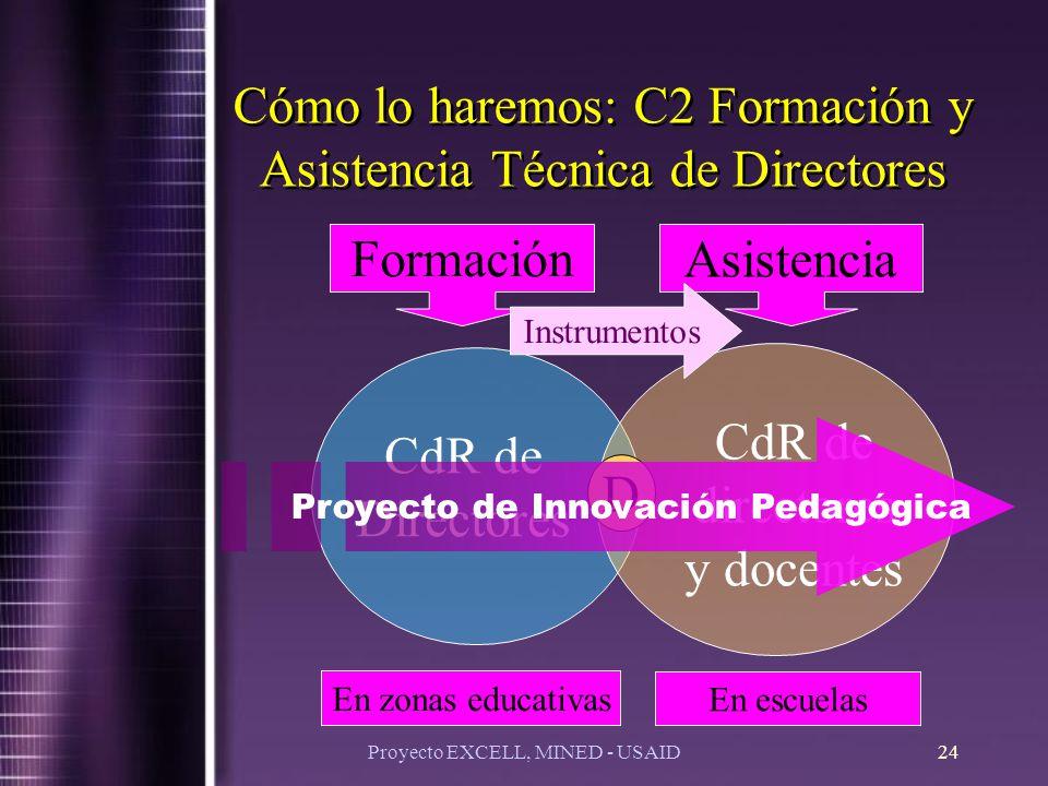 Proyecto EXCELL, MINED - USAID24 CdR de Directores CdR de directores y docentes D Cómo lo haremos: C2 Formación y Asistencia Técnica de Directores Formación Asistencia En zonas educativas En escuelas Instrumentos Proyecto de Innovación Pedagógica