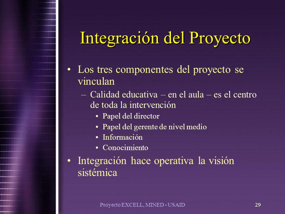 Proyecto EXCELL, MINED - USAID29 Integración del Proyecto Los tres componentes del proyecto se vinculan –Calidad educativa – en el aula – es el centro de toda la intervención Papel del director Papel del gerente de nivel medio Información Conocimiento Integración hace operativa la visión sistémica