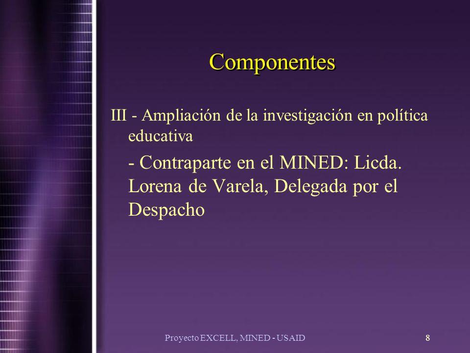 Proyecto EXCELL, MINED - USAID8 Componentes III - Ampliación de la investigación en política educativa - Contraparte en el MINED: Licda.